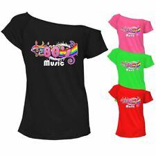 Ladies 80s Music Top T Shirt Top Off Shoulder Retro Party Outfit 6955Lot