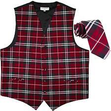 "New Men's Plaid Tuxedo Vest Waistcoat_2.5"" Skinny Slim Necktie Red Prom formal"
