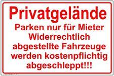 Schild Privatgelände Parken nur für Mieter Parkverbot Hinweisschild Warnung  P46