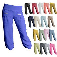 New Womens Linen Pants 3/4 Summer Italian Cropped Boyfriend Capri Ladies Pants