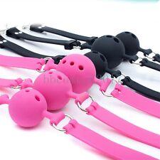Soft Full Silicone Ball Gag Breathable Bongdage Mouth Stuffed Restraint Toy