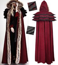 Cape langen Mäntel Gothic Lolita barocke kapuze Rüsche Pelz winter PunkRave Rot