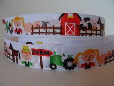 "Grosgrain Ribbon, Total Farm, Animals Tractor Barn Fences Horse Cow Pig 7/8"""