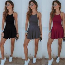 Ladies Summer Tennis Short Dress Strap Sleeveless Beach Sport Dress D