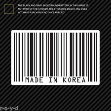 Made In Korea Barcode Sticker Die Cut Decal jdm haters vinyl upc korean