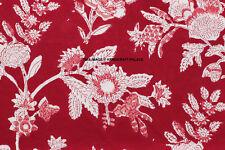10 Yard Hand Block Print 100% Cotton Fabric Natural Floral Print Running Fabric