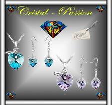 Sublime Parure collier boucle d'oreille Cristal swarovski éléments  Coeur noeud