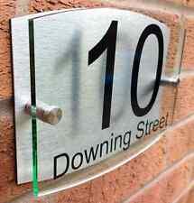 Personalised House number sign GREEN EDGE GLASS acrylic & brushed aluminium