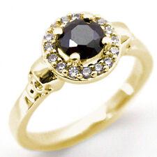 Skull Ring 9ct gold .70ct Diamond-Unique Round Brilliant Halo Black Diamond Ring