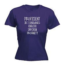 Proficient In 3 Languages English Sarcasm Profanity WOMENS T-SHIRT Gift birthday