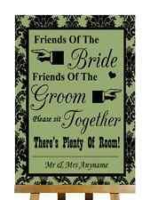 Salvia verde Negro Amigos De La Novia, amigos de Novio asientos Boda Signo