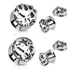Túnel bollos Plug inlay piercing acero inoxidable calavera estrella llama Skull plata