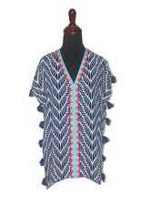 Escapada Ladies Short Sleeve Navy White Kauai Embroidered Joana Tassel Top-S-XL