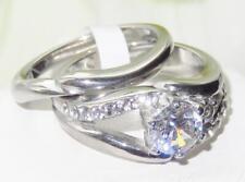 2118 2PCS Anillo Diamantes Simulados bandas Remolino Boda conjunto de Acero Inoxidable