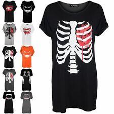Womens Halloween Bleeding Heart Ladies Baggy Rib Tunic Long Mini T-Shirt Dress