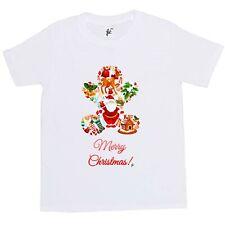 Merry Christmas Ginger Bread Man Santa Deer Gifts Kids Boys / Girls T-Shirt