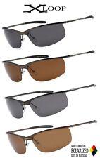 X-Loop Polarized Mens Metal Frame Semi Rimless Sport Designer Sunglasses UV400