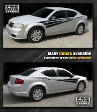 Dodge Avenger 2008-2014 Racing Triple Side Stripes Decals (Choose Color)