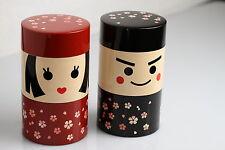 Boîte à thé Japonaise Kokeshi homme ou femme 2 compartiments