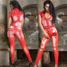 FOGGI 2-Teiler Damenjeans + Jeansjacke Hüfthose Röhrenhose rot 34-38 #F269