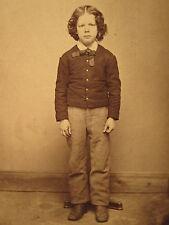ANTIQUE ARTISTIC BOY HAIR POSE PHOTOGRAPHER'S STAND WILDER LACONIA NH CDV PHOTO