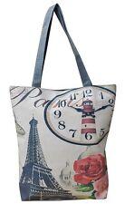 Womens Casual Canvas Print Shopper Bag Tote Shoulder Ladies Dual Strap Handbag