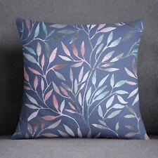 S4Sassy Leaves Printed Decorative Blue Indian Sofa Cushion Cover-PAR-SUB-SAS49C