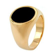 GOLD DOUBLE *** Onyx Ring Siegelring vergoldet, Größenauswahl