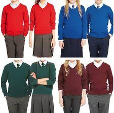 Unisex Boys Childrens Uniform school jumper Knitted V Neck Plain Pullover girls