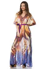 Caftan Long bleu violet orange tunique strass ceinture fantaisie femme uy 14677