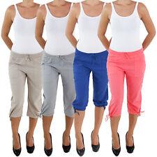 Leinen Capri Shorts Bemuda Kurze Hose Hüft Stretch Hose Sommerhose H02