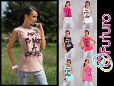 Women's Casual Vest Top ART Print Party 100% Cotton T-Shirt Sizes 8-16 B21