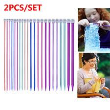 2Pcs/set Aluminum Knitting Needles Straight Pins Weaving Tool Single Pointed