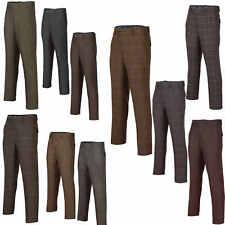 Men's Herringbone Trousers Vintage Style Tweed Check Tailored Fit Smart Casual