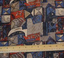 "Taupe/Blue Printed Tissue Taffeta 100% Silk Fabric 44"" Wide, By Yard (TS-7360)"