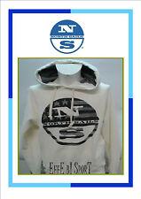 Felpa da uomo bianca North Sails con cappuccio manica lunga cotone casual moda
