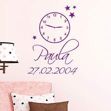 Wandtattoo Uhr mit Wunsch Name Datum Geburt Hochzeit Momente 11036 Familie Kind