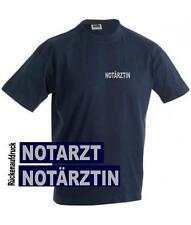 Notarzt / Notärztin T-Shirt / Hemd navy mit Brust- und Rückenaufdruck reflex*