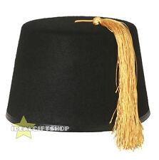 BLACK FEZ KUKI HAT ADULTS MOROCCAN TURKISH TASSEL ACCESSORY FANCY DRESS