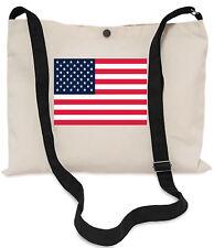 USA Flag Canvas Musette Bag 40x30cm, 150cm Long black adjustable strap
