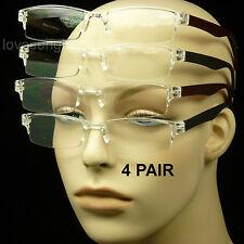 4 PAIR LOT READING GLASSES CLEAR LENS MEN WOMEN NEW STRENGTH RIMLESS RECTANGLE
