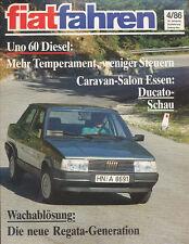 Fiat fahren 4/86 1986 Regata Uno Giovanni Agnelli Domino Ive Auto Pkw Italien