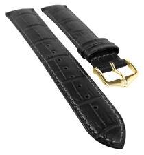 HIRSCH DUKE L | Uhrenband italienisches Leder / Alligatorprägung / Schwarz 31024