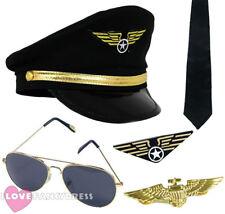 CAPTAIN PILOT FANCY DRESS COSTUME ACCESSORY HAT AVIATOR GLASSES BADGE TIE 80'S