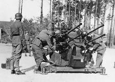 WWII B&W Photo German Troops 2 cm Flak Gun  WW2 / 2035