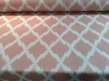 Ikat Pink/ Natural Oatmeal Linen & Bamboo  Curtain/Craft/Upholstery Fabric