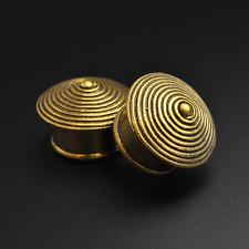 Brass Ear Flesh Plugs  | Spiral Cone | 8mm - 16mm | Lead & Nickel Free