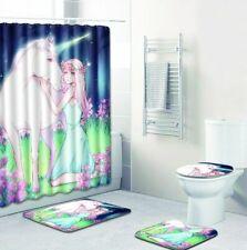 Unicorn Bathroom Rug Shower Curtain Skidproof Toilet Lid Cover Bath Mat Rug Set