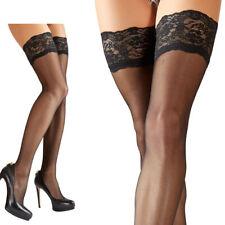 "Halterlose Strümpfe Spitze Strapse schwarz Silikon stockings M L XL 2XL ""Sassa"""