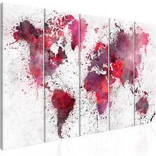 Wandbilder xxl Weltkarte Abstrakt Aquarelle rot viollet Leinwand k-B-0060-b-m